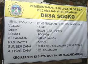 Pembangunan Perpustakaan Desa Sooko Diduga Fiktif